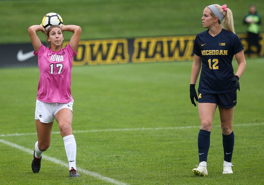 Iowa Hawkeyes defender Hannah Drkulec (17) throws the ball in during a game against Michigan at the Iowa Soccer Complex on October 14, 2018. (Tork Mason/hawkeyesports.com)