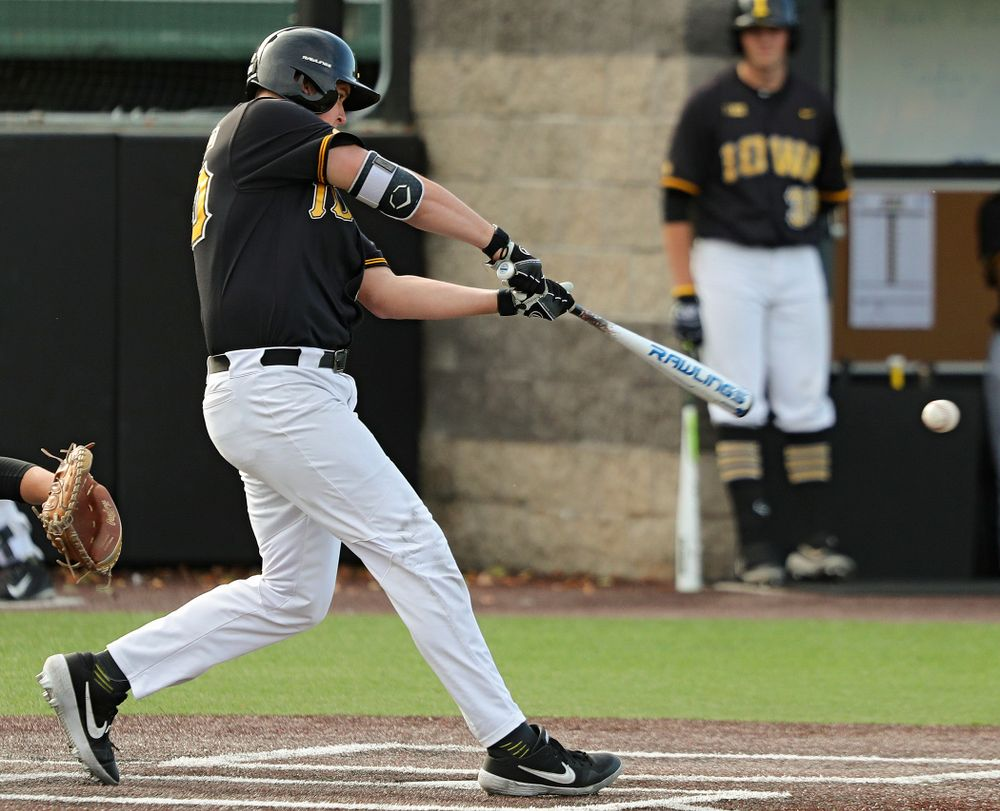 Iowa first baseman Peyton Williams (45) bats during the third inning of the first game of the Black and Gold Fall World Series at Duane Banks Field in Iowa City on Tuesday, Oct 15, 2019. (Stephen Mally/hawkeyesports.com)