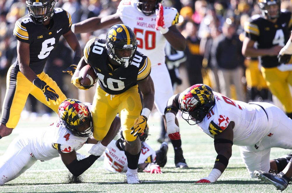 Iowa Hawkeyes running back Mekhi Sargent (10) runs the ball during a game against Maryland at Kinnick Stadium on October 20, 2018. (Tork Mason/hawkeyesports.com)