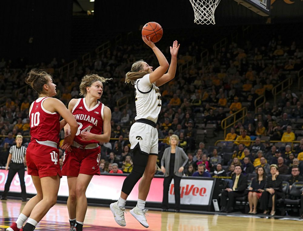 Iowa Hawkeyes guard Kathleen Doyle (22) scores a basket during the fourth quarter of their game at Carver-Hawkeye Arena in Iowa City on Sunday, January 12, 2020. (Stephen Mally/hawkeyesports.com)