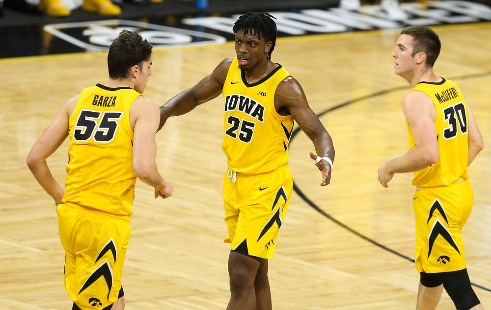 Iowa Hawkeyes forward Tyler Cook (25) reacts after a made basket against Wisconsin on November 30, 2018 at Carver-Hawkeye Arena. (Tork Mason/hawkeyesports.com)