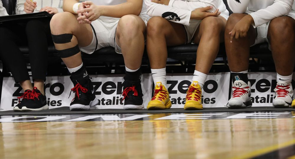 The Iowa Hawkeyes wear red laces for Go Red For Women Day against the Purdue Boilermakers Sunday, January 27, 2019 at Carver-Hawkeye Arena. (Brian Ray/hawkeyesports.com)