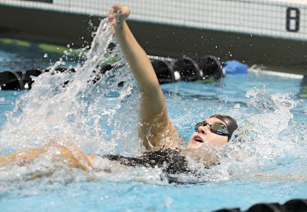 Iowa's Helena Blumenau swims the backstroke section of the 100-yard individual medley event during their meet against Michigan State at the Campus Recreation and Wellness Center in Iowa City on Thursday, Oct 3, 2019. (Stephen Mally/hawkeyesports.com)