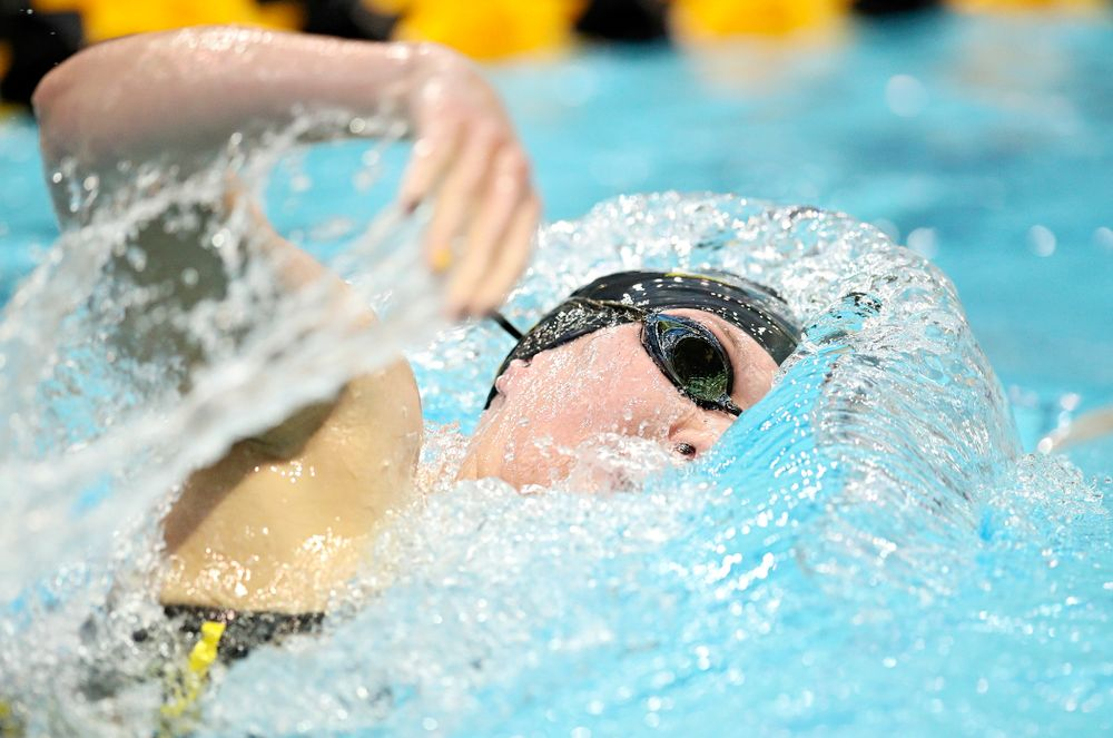 Iowa's Allyssa Fluit swims the women's 500 yard freestyle preliminary event during the 2020 Women's Big Ten Swimming and Diving Championships at the Campus Recreation and Wellness Center in Iowa City on Thursday, February 20, 2020. (Stephen Mally/hawkeyesports.com)