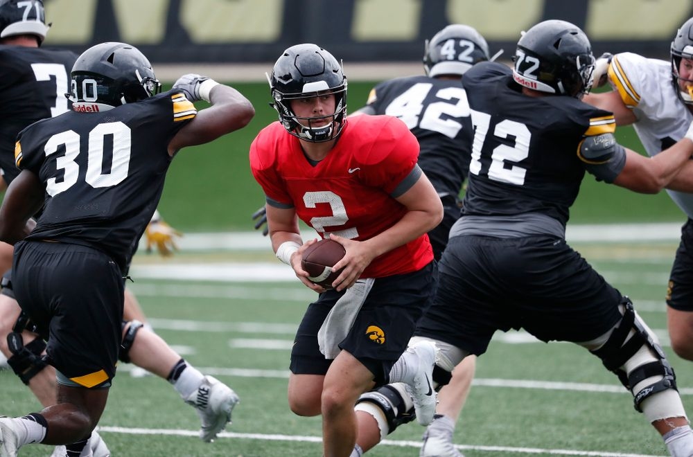 Iowa Hawkeyes quarterback Peyton Mansell (2) during practice No. 4 of Fall Camp Monday, August 6, 2018 at the Hansen Football Performance Center. (Brian Ray/hawkeyesports.com)
