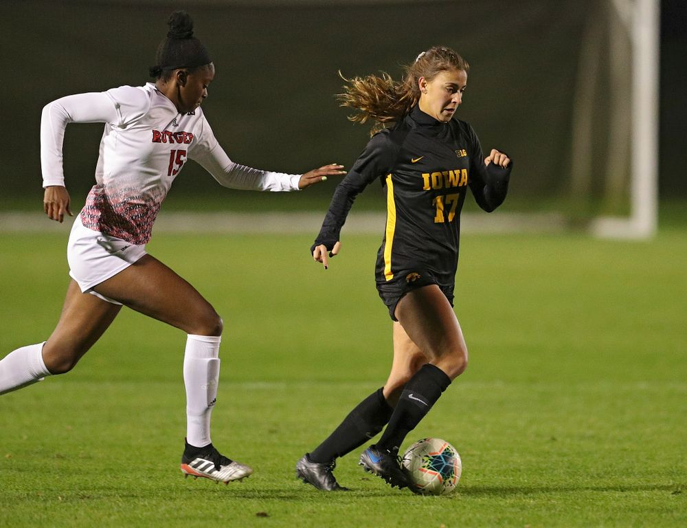 Iowa defender Hannah Drkulec (17) moves with the ball during the first half of their match at the Iowa Soccer Complex in Iowa City on Friday, Oct 11, 2019. (Stephen Mally/hawkeyesports.com)
