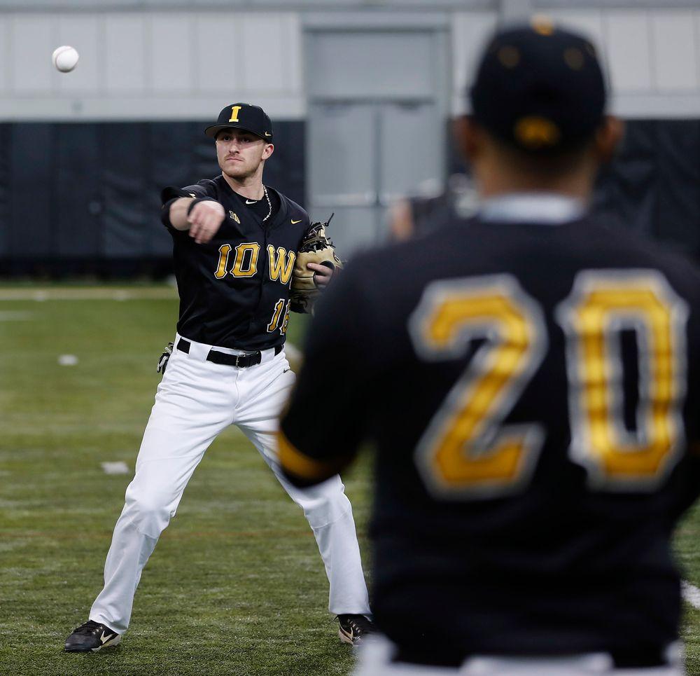 Tanner Wetrich at first baseball practice on Jan. 25, 2019. (Darren Miller/hawkeyesports.com)