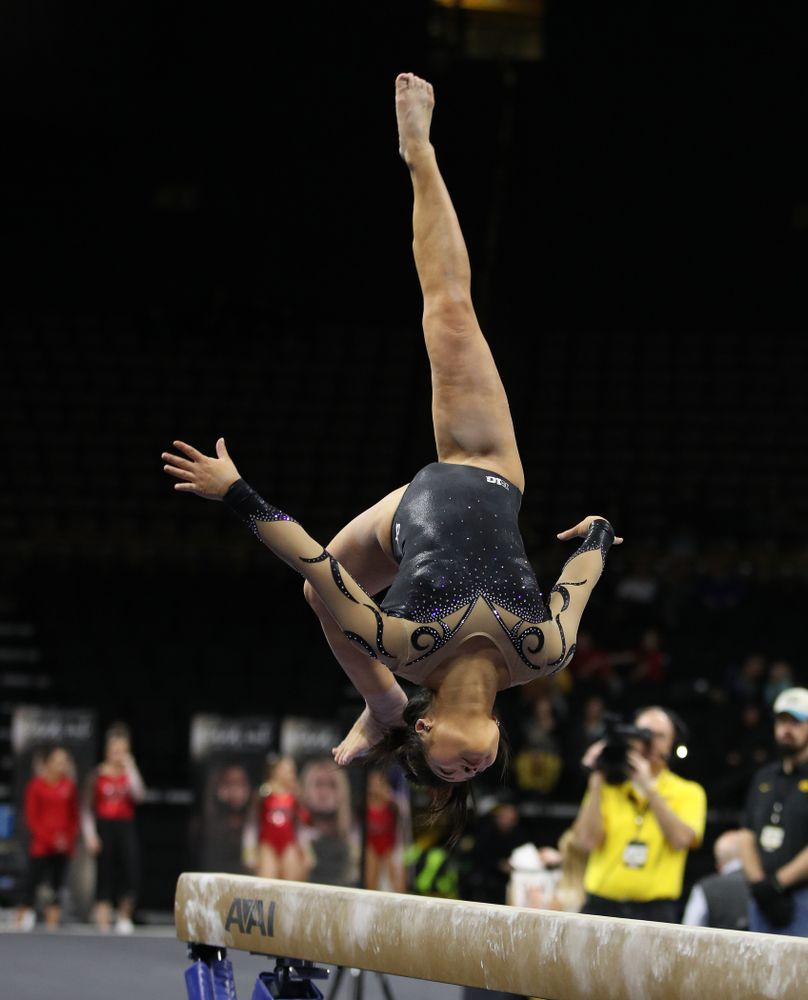 Iowa's Clair Kaji competes on the beam during their meet against Southeast Missouri State Friday, January 11, 2019 at Carver-Hawkeye Arena. (Brian Ray/hawkeyesports.com)