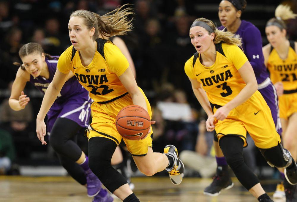 Iowa Hawkeyes guard Kathleen Doyle (22) against the Northwestern Wildcats Sunday, March 3, 2019 at Carver-Hawkeye Arena. (Brian Ray/hawkeyesports.com)