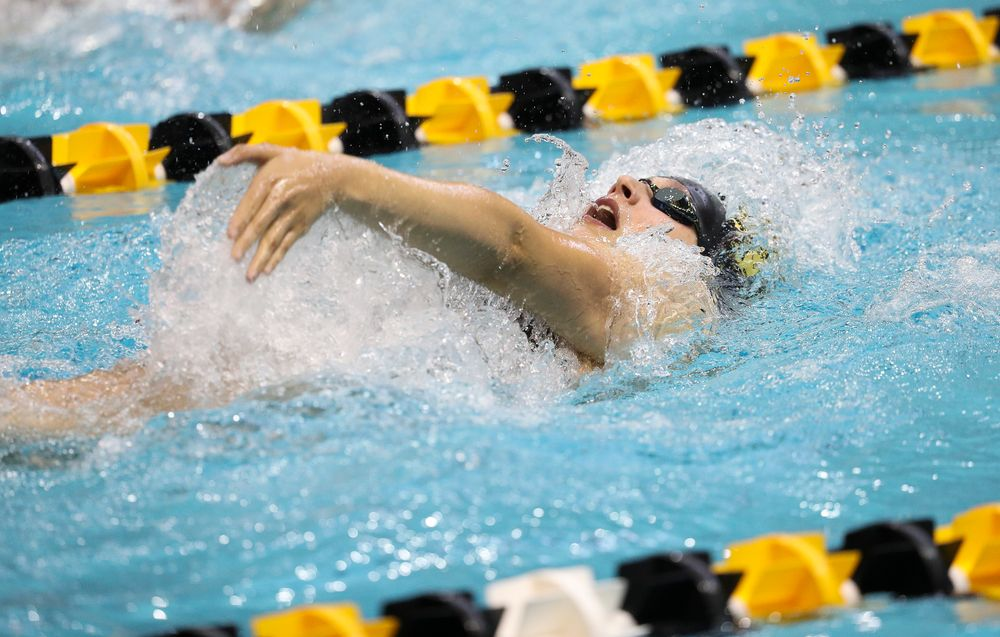 Iowa's Hannah Burvill competes in the 200-yard backstroke during a meet against Michigan and Denver at the Campus Recreation and Wellness Center on November 3, 2018. (Tork Mason/hawkeyesports.com)