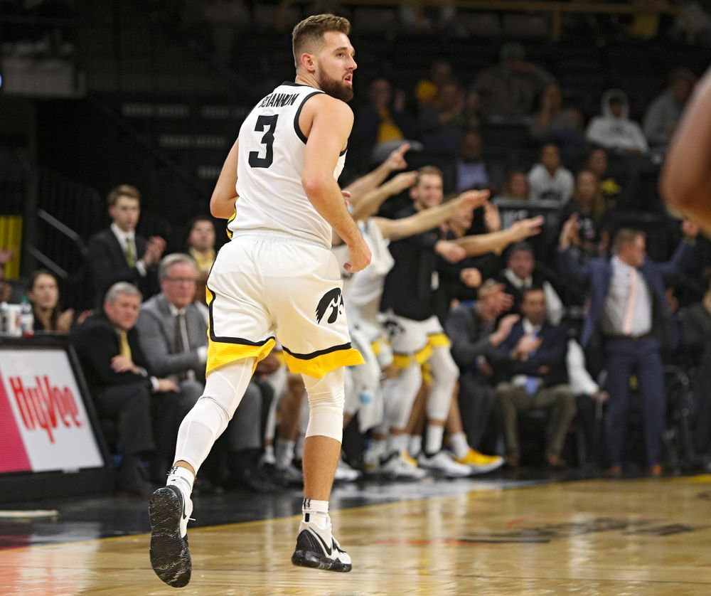 Iowa Hawkeyes guard Jordan Bohannon (3) runs down the court after making a 3-pointer during the first half of their exhibition game against Lindsey Wilson College at Carver-Hawkeye Arena in Iowa City on Monday, Nov 4, 2019. (Stephen Mally/hawkeyesports.com)