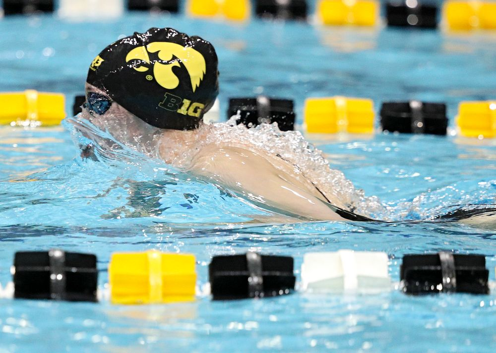 Iowa's Allyssa Fluit swims the breaststroke section of the 100-yard individual medley event during their meet against Michigan State at the Campus Recreation and Wellness Center in Iowa City on Thursday, Oct 3, 2019. (Stephen Mally/hawkeyesports.com)
