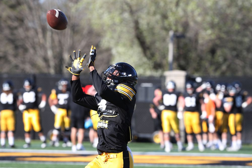 Iowa Hawkeyes wide receiver Ihmir Smith-Marsette (6) during the teamÕs final spring practice Friday, April 26, 2019 at the Kenyon Football Practice Facility. (Brian Ray/hawkeyesports.com)