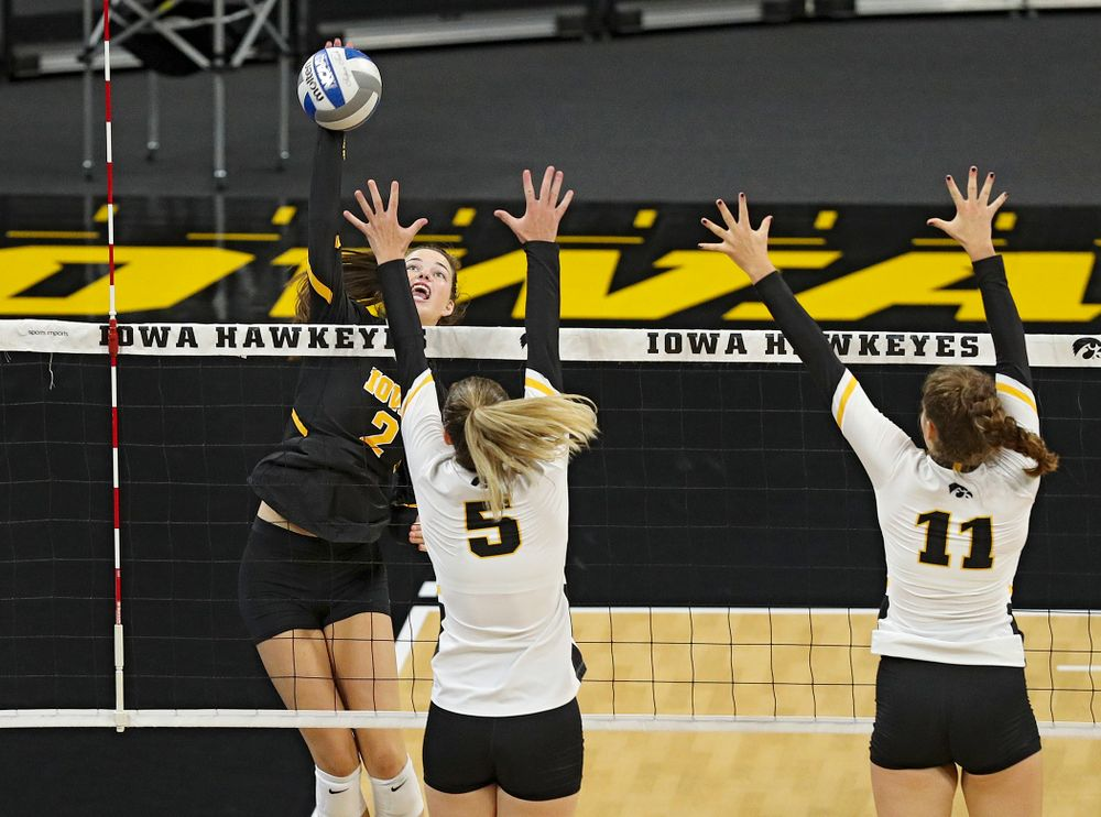 Iowa's Courtney Buzzerio (2) during the third set of the Black and Gold scrimmage at Carver-Hawkeye Arena in Iowa City on Saturday, Aug 24, 2019. (Stephen Mally/hawkeyesports.com)