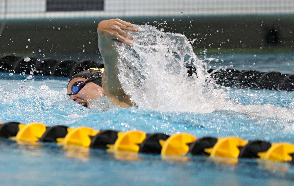 Iowa's Meghan Hackett swims her section of the women's 200-yard freestyle relay event during their meet against Michigan State at the Campus Recreation and Wellness Center in Iowa City on Thursday, Oct 3, 2019. (Stephen Mally/hawkeyesports.com)