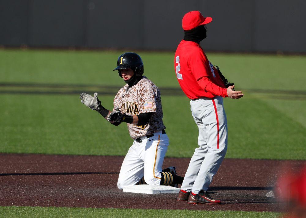 Iowa Hawkeyes infielder Mitchell Boe (4) against the Ohio State Buckeyes Saturday, April 7, 2018 at Duane Banks Field. (Brian Ray/hawkeyesports.com)