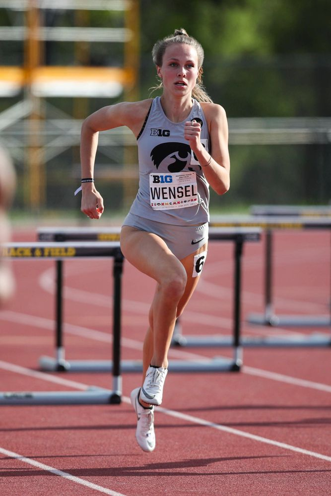 Iowa's Payton Wensel hurdles during the women's 400-meter hurdles at the Big Ten Outdoor Track and Field Championships at Francis X. Cretzmeyer Track on Friday, May 10, 2019. (Lily Smith/hawkeyesports.com)