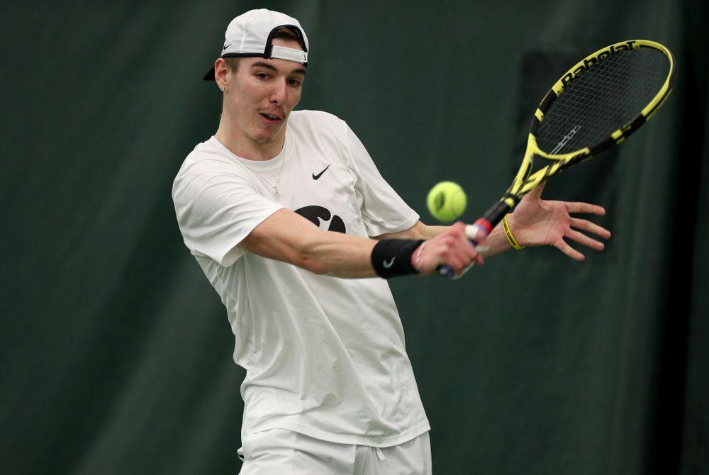 Iowa's Nikita Snezhko against Cornell Sunday, March 8, 2020 at the Hawkeye Tennis and Recreation Center. (Brian Ray/hawkeyesports.com)