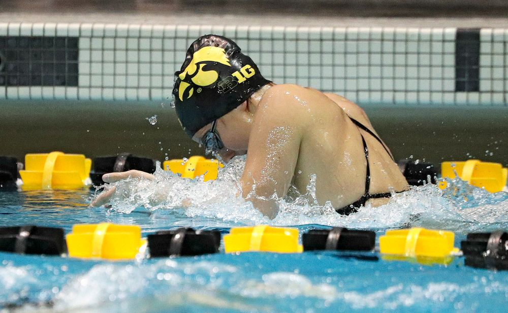 Iowa's Taylor Hartley swims the breaststroke section of the 100-yard individual medley event during their meet against Michigan State at the Campus Recreation and Wellness Center in Iowa City on Thursday, Oct 3, 2019. (Stephen Mally/hawkeyesports.com)