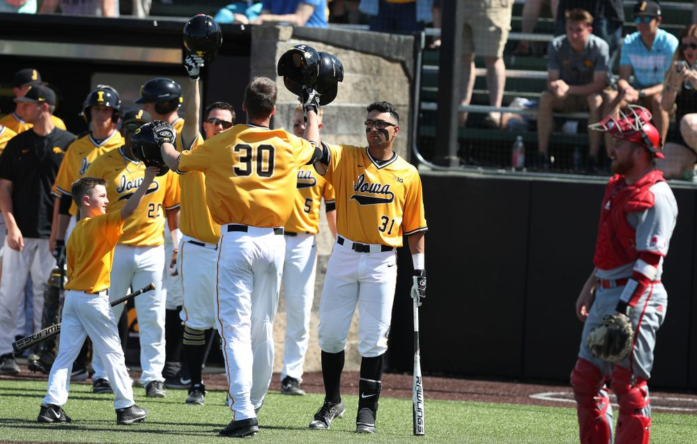 Iowa Hawkeyes Connor McCaffery (30) hits a home run against the Nebraska Cornhuskers Sunday, April 21, 2019 at Duane Banks Field. (Brian Ray/hawkeyesports.com)