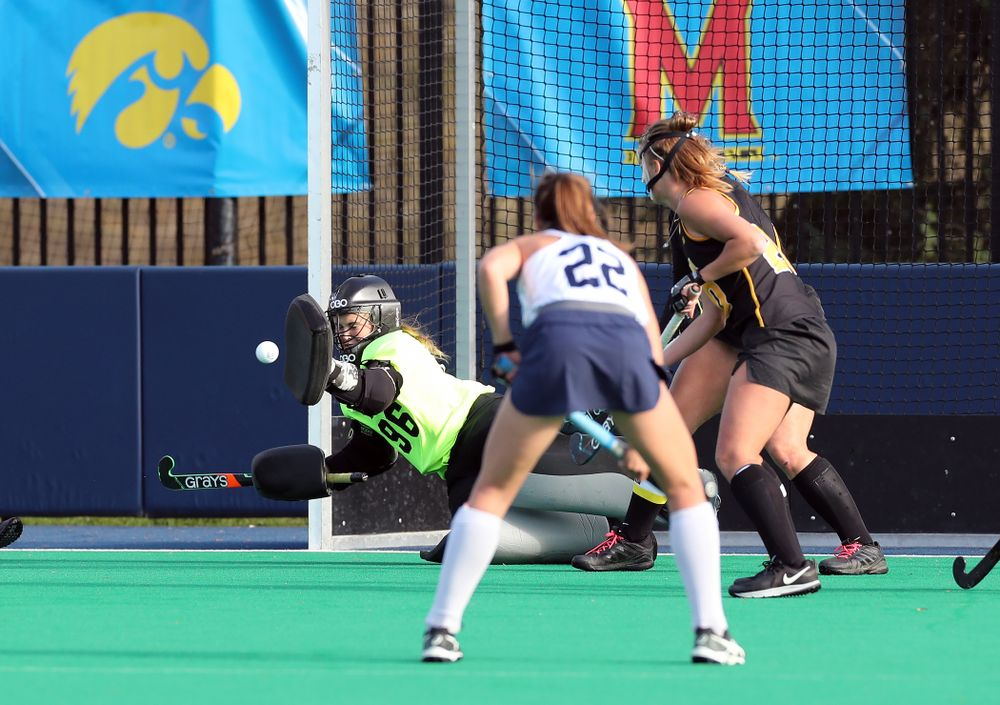 Iowa Hawkeyes goaltender Leslie Speight (96) makes a save against Penn State in the 2019 Big Ten Field Hockey Tournament Championship Game Sunday, November 10, 2019 in State College. (Brian Ray/hawkeyesports.com)