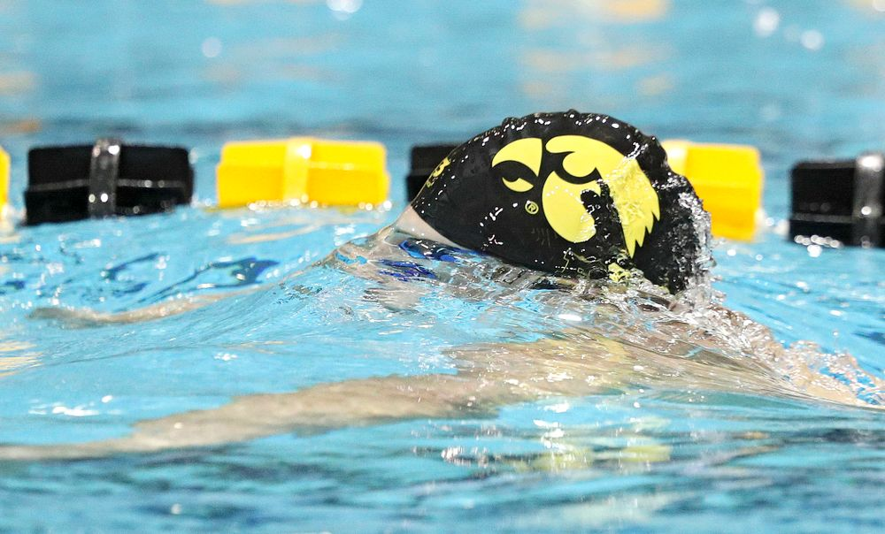 Iowa's Joe Myhre swims the breaststroke section of the 100-yard individual medley event during their meet against Michigan State at the Campus Recreation and Wellness Center in Iowa City on Thursday, Oct 3, 2019. (Stephen Mally/hawkeyesports.com)