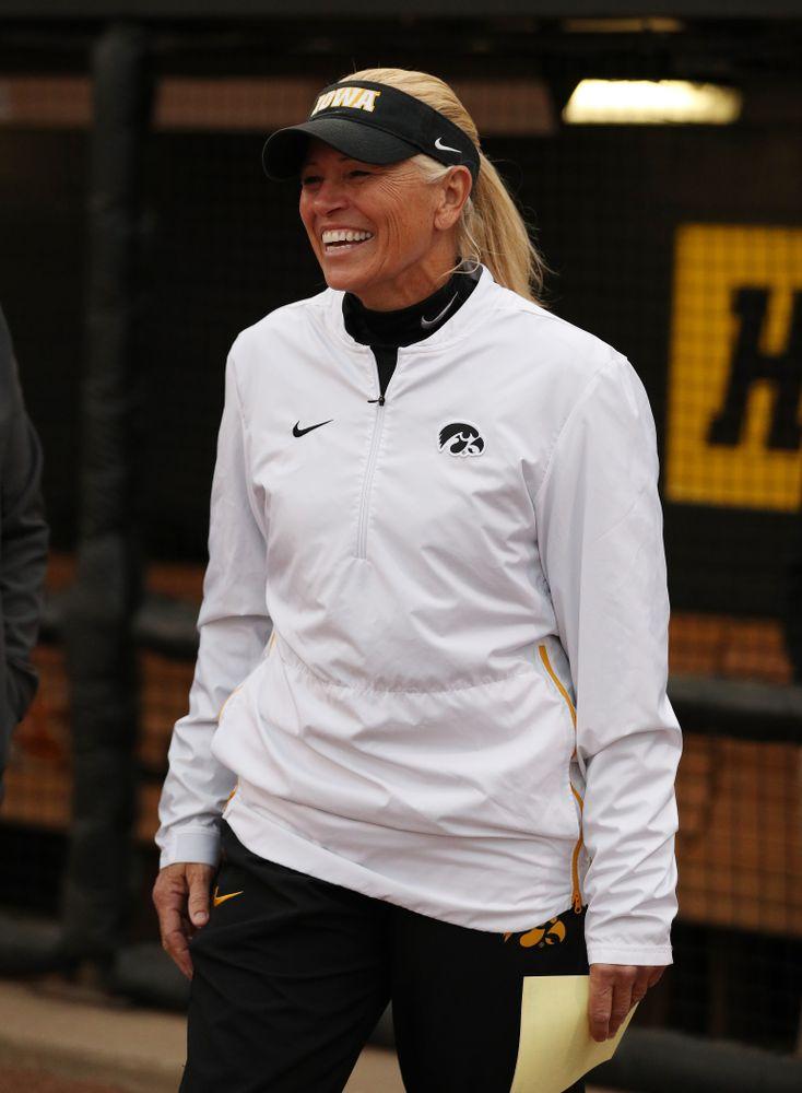 Iowa Hawkeyes head coach Renee Gillispie against Western Illinois Wednesday, March 27, 2019 at Pearl Field. (Brian Ray/hawkeyesports.com)