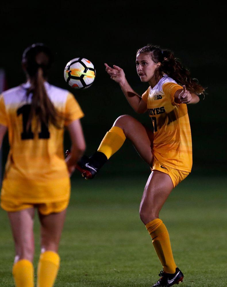 Iowa Hawkeyes Hannah Drkulec (17) against the Missouri Tigers Friday, August 17, 2018 at the Iowa Soccer Complex. (Brian Ray/hawkeyesports.com)
