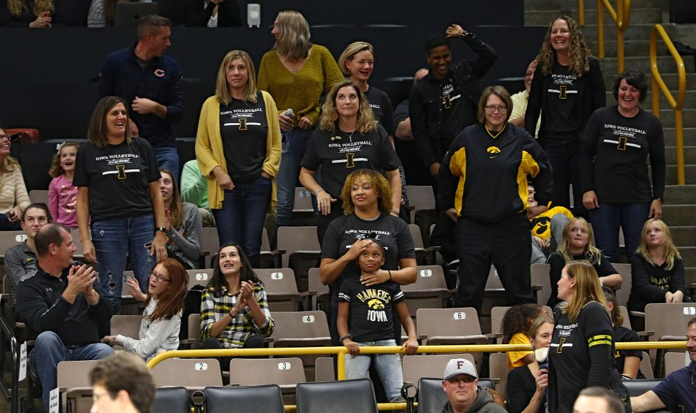 Iowa volleyball alumni are recognized during the match at Carver-Hawkeye Arena in Iowa City on Sunday, Oct 20, 2019. (Stephen Mally/hawkeyesports.com)