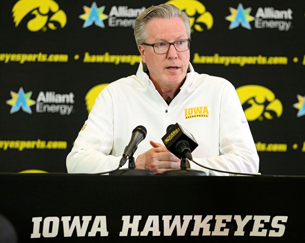 Iowa Hawkeyes head coach Fran McCaffery answers questions during Iowa Men's Basketball Media Day at Carver-Hawkeye Arena in Iowa City on Wednesday, Oct 9, 2019. (Stephen Mally/hawkeyesports.com)