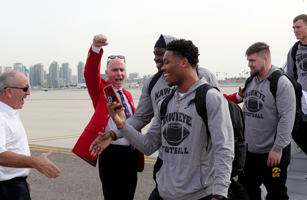 Iowa Hawkeyes wide receiver Tyrone Tracy Jr. (3) and defensive tackle Daviyon Nixon (54) after arriving in San Diego, CA Saturday, December 21, 2019 for the Holiday Bowl. (Brian Ray/hawkeyesports.com)
