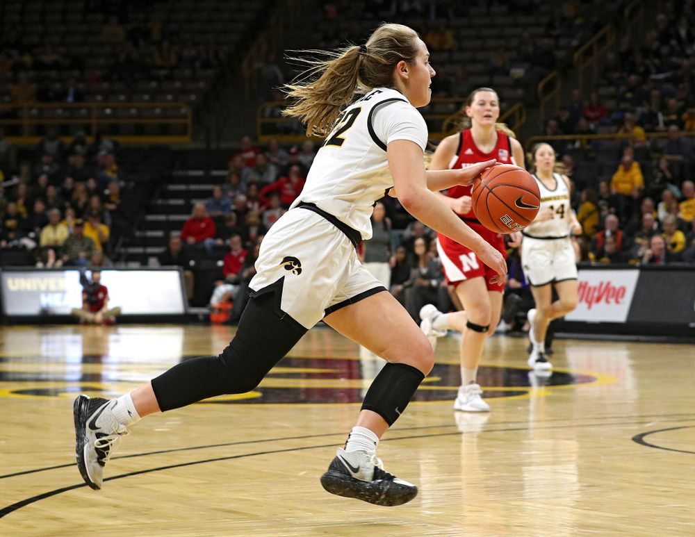 Iowa Hawkeyes guard Kathleen Doyle (22) drives with the ball during the fourth quarter of the game at Carver-Hawkeye Arena in Iowa City on Thursday, February 6, 2020. (Stephen Mally/hawkeyesports.com)