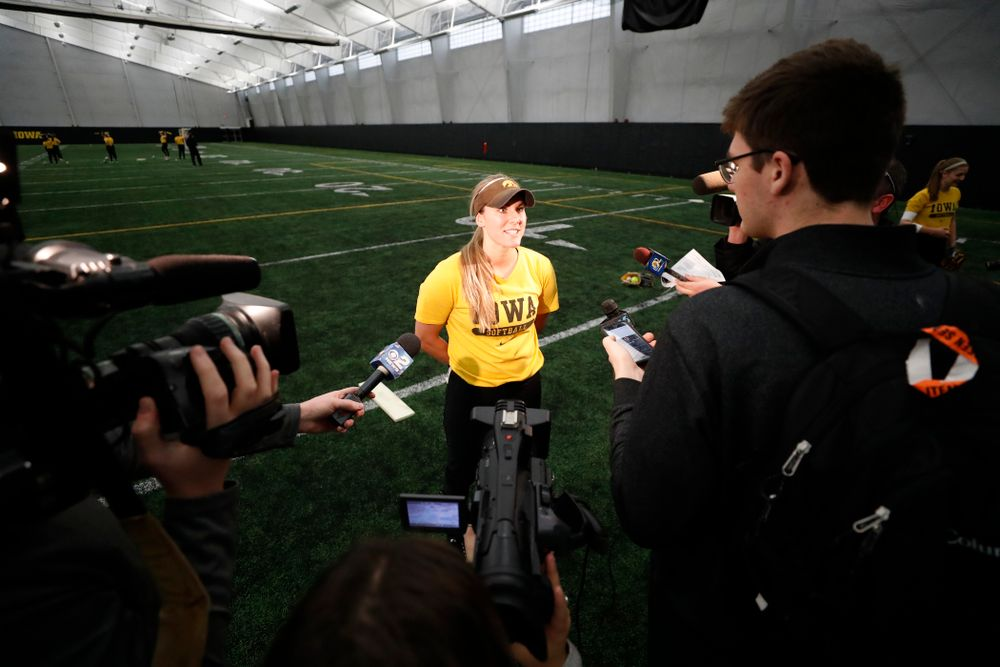 Iowa's Allie Wood answers questions during the team's annual media day Tuesday, January 30, 2018 at the Hawkeye Tennis and Recreation Complex. (Brian Ray/hawkeyesports.com)