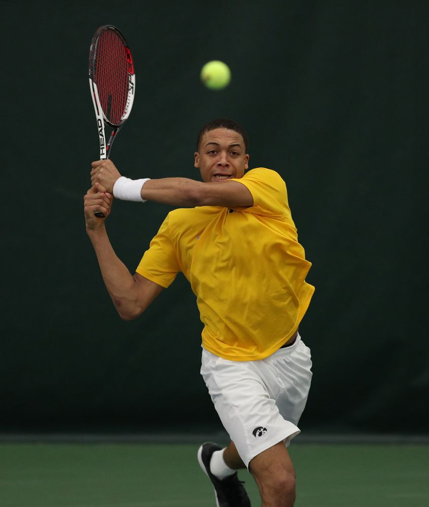 Oliver Okonkwo against Utah Sunday, February 10, 2019 at the Hawkeye Tennis and Recreation Complex. (Brian Ray/hawkeyesports.com)