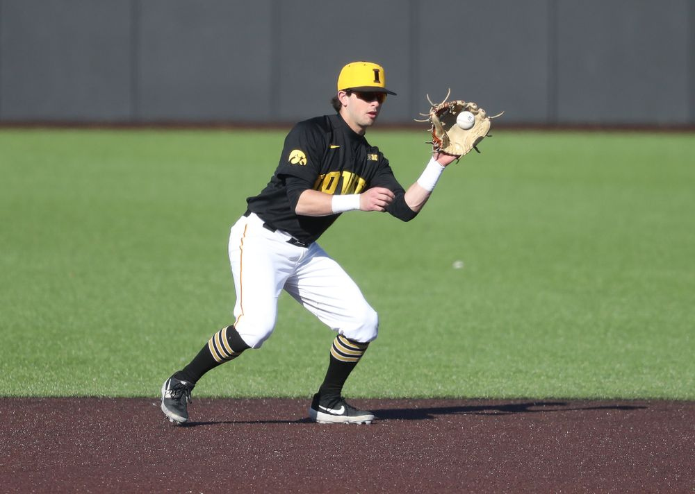 Iowa Hawkeyes infielder Mitchell Boe (4) against the Bradley Braves Tuesday, March 26, 2019 at Duane Banks Field. (Brian Ray/hawkeyesports.com)