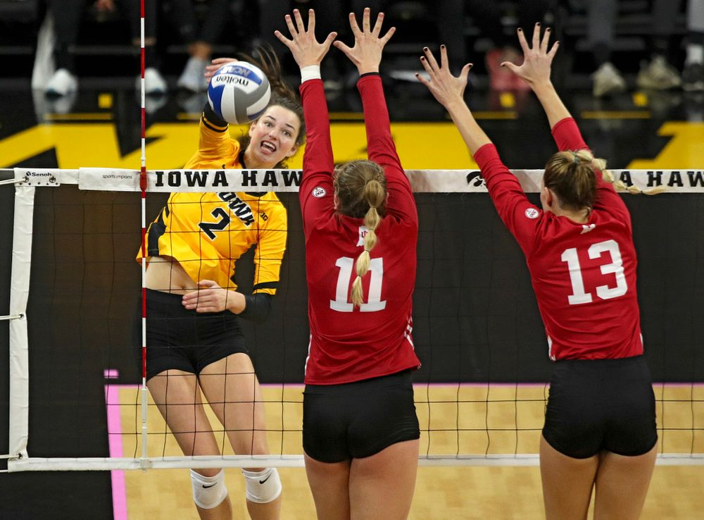 Iowa's Courtney Buzzerio (2) lines up a shot during their match at Carver-Hawkeye Arena in Iowa City on Sunday, Oct 20, 2019. (Stephen Mally/hawkeyesports.com)