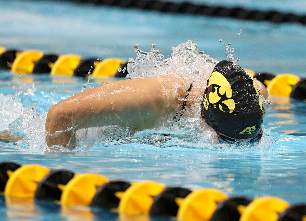 Iowa's Hannah Burvill swims the women's 50-yard butterfly event during their meet against Michigan State at the Campus Recreation and Wellness Center in Iowa City on Thursday, Oct 3, 2019. (Stephen Mally/hawkeyesports.com)