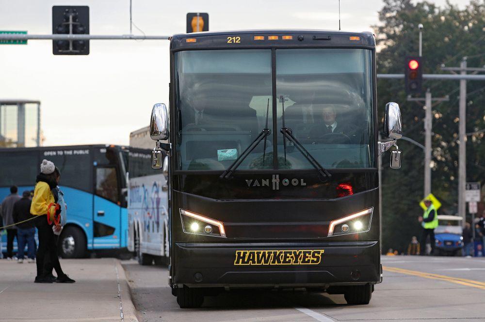 The Iowa Hawkeye arrive before their game at Kinnick Stadium in Iowa City on Saturday, Oct 19, 2019. (Stephen Mally/hawkeyesports.com)