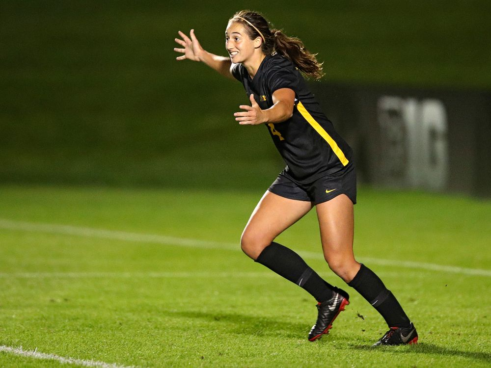 Iowa forward Kaleigh Haus (4) celebrates after scoring a goal during the second half of their match against Illinois at the Iowa Soccer Complex in Iowa City on Thursday, Sep 26, 2019. (Stephen Mally/hawkeyesports.com)