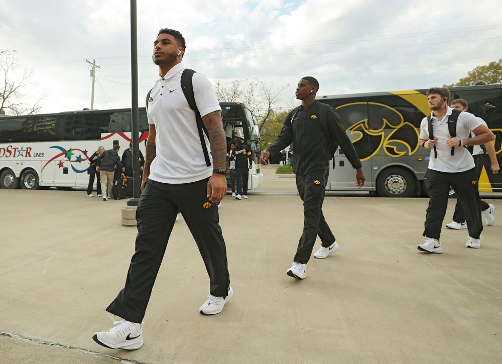 Iowa Hawkeyes defensive back Geno Stone (9) arrives with his team before their game at Kinnick Stadium in Iowa City on Saturday, Oct 19, 2019. (Stephen Mally/hawkeyesports.com)