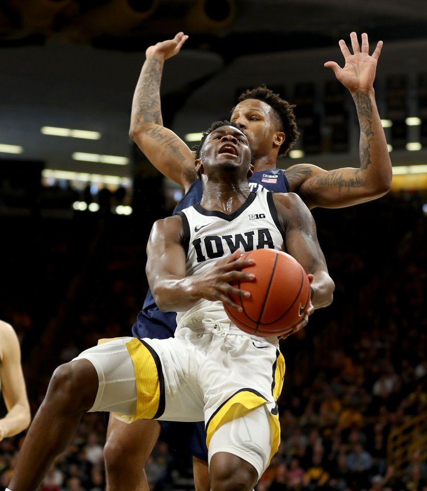 Iowa Hawkeyes guard Joe Toussaint (1) against Penn State Saturday, February 29, 2020 at Carver-Hawkeye Arena. (Brian Ray/hawkeyesports.com)