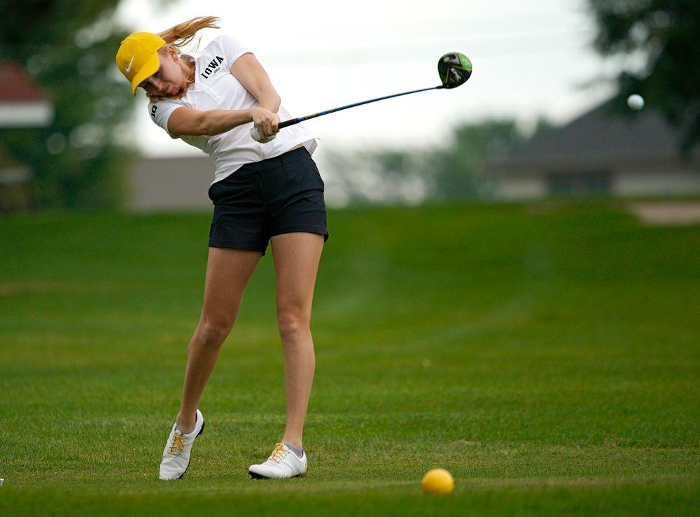 Iowa's Annalee Dannegger tees off during their dual against Northern Iowa at Pheasant Ridge Golf Course in Cedar Falls on Monday, Sep 2, 2019. (Stephen Mally/hawkeyesports.com)