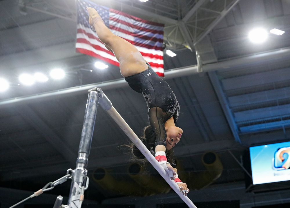 Iowa's Clair Kaji competes on the bars during their meet at Carver-Hawkeye Arena in Iowa City on Sunday, March 8, 2020. (Stephen Mally/hawkeyesports.com)