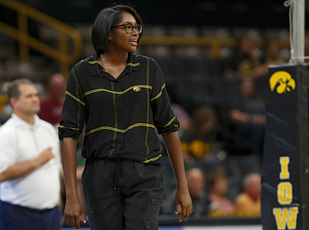 Iowa head coach Vicki Brown during the third set of the Black and Gold scrimmage at Carver-Hawkeye Arena in Iowa City on Saturday, Aug 24, 2019. (Stephen Mally/hawkeyesports.com)
