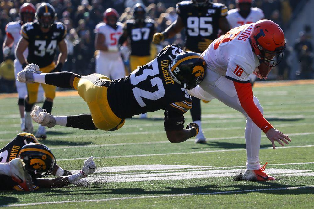 Iowa Hawkeyes linebacker Djimon Colbert (32) during Iowa football vs Illinois on Saturday, November 23, 2019 at Kinnick Stadium. (Lily Smith/hawkeyesports.com)