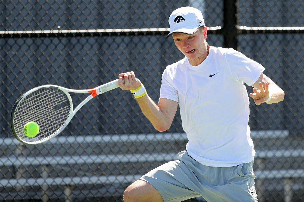 Iowa's Jason Kerst during his match against Michigan at the Hawkeye Tennis and Recreation Complex in Iowa City on Sunday, Apr. 21, 2019. (Stephen Mally/hawkeyesports.com)