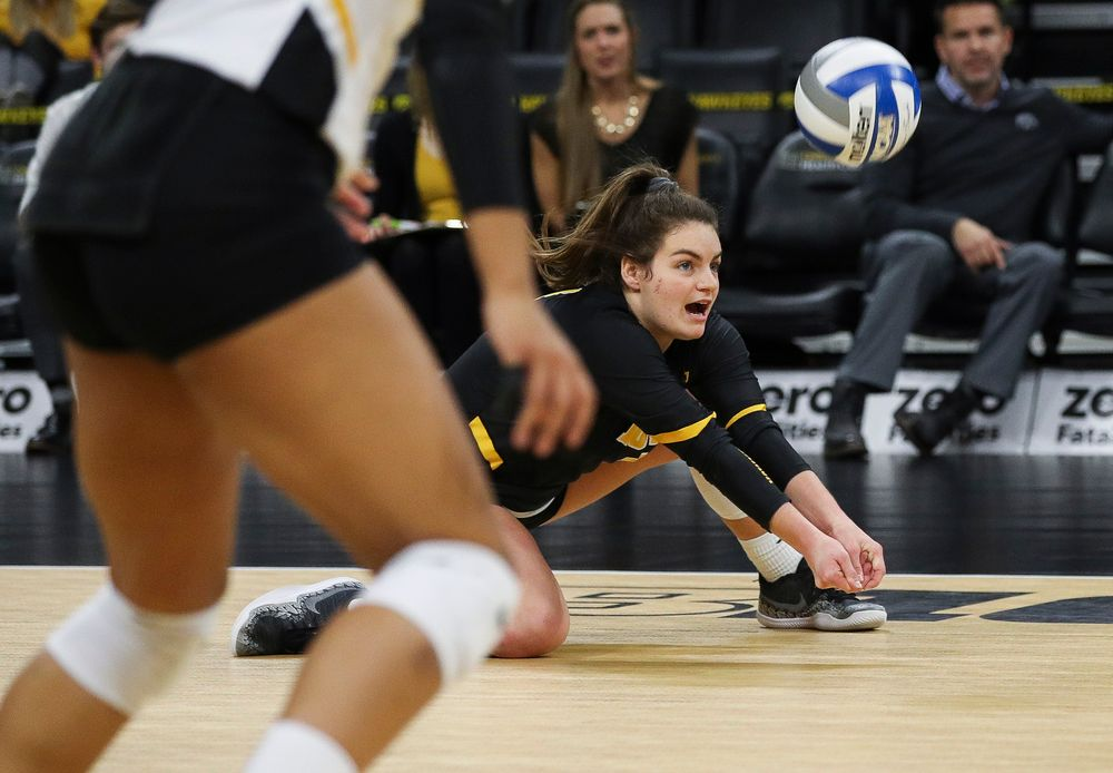 Iowa Hawkeyes defensive specialist Molly Kelly (1) digs the ball during a match against Maryland at Carver-Hawkeye Arena on November 23, 2018. (Tork Mason/hawkeyesports.com)