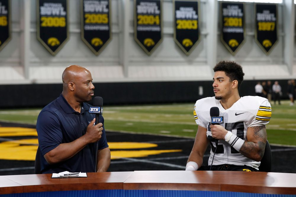 Iowa Hawkeyes defensive back Amani Hooker (27) on the Big Ten Network set Monday, August 20, 2018 at the Hansen Football Performance Center. (Brian Ray/hawkeyesports.com)
