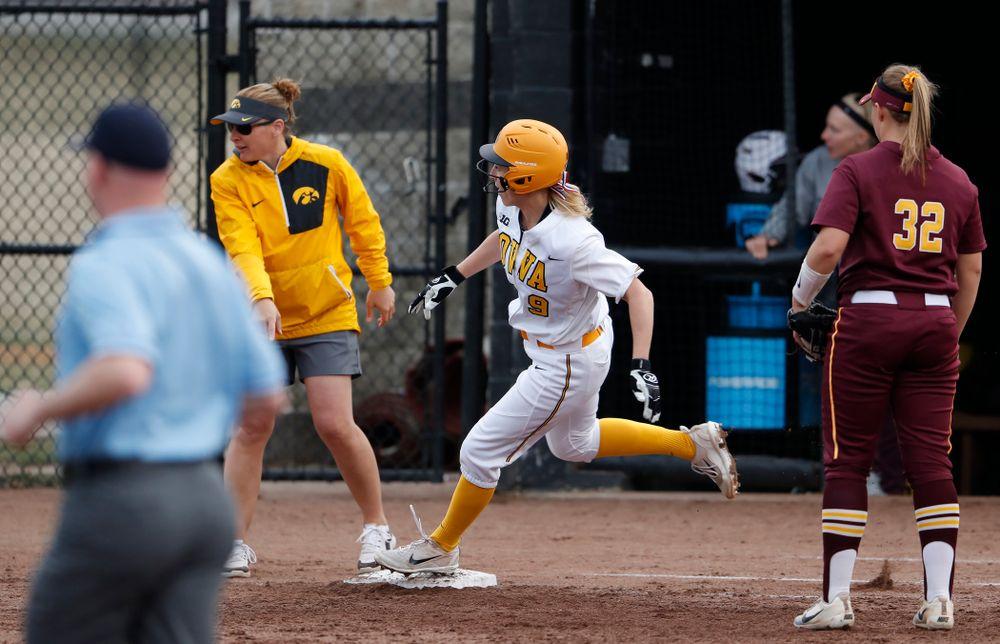 Iowa Hawkeyes infielder Sarah Kurtz (9) against the Minnesota Golden Gophers  Thursday, April 12, 2018 at Bob Pearl Field. (Brian Ray/hawkeyesports.com)