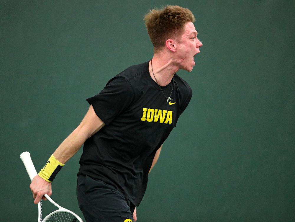 Iowa's Jason Kerst during his singles match at the Hawkeye Tennis and Recreation Complex in Iowa City on Friday, February 14, 2020. (Stephen Mally/hawkeyesports.com)